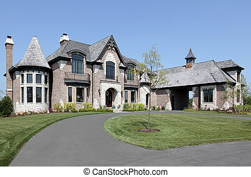 forstads, mursten, hjem, hos, cirkelrund, driveway