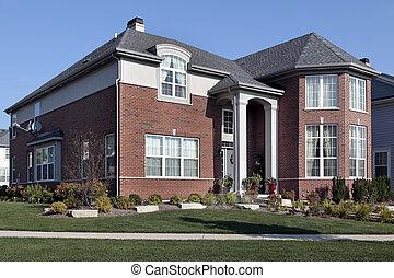 forstads, mursten, hjem, hos, kolonner