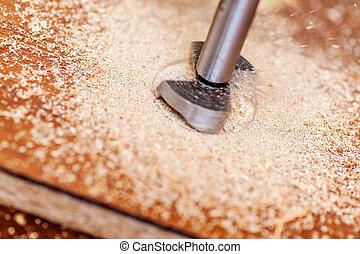 Forstner's cutter bit for concealed hinge holes with sawdust