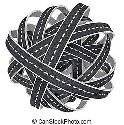 forstopp, tangled, bold af, veje, 3, illustration