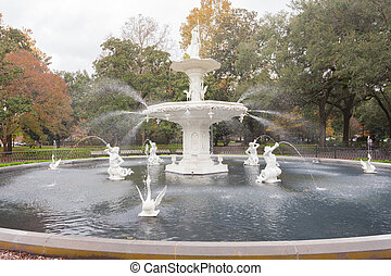 Forsyth Park Fountain historic Savannah Georgia US