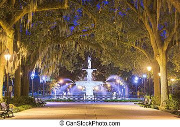Forsyth Park, Savannah, Georgia, USA fountain