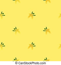 Forsythia blossom on light yellow background - vector background