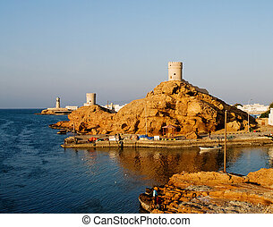 Fort and Lighthouse  in Sur , Oman