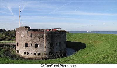"""Fort behind dike in Holland - Fort """"Westbatterij"""" behind..."""