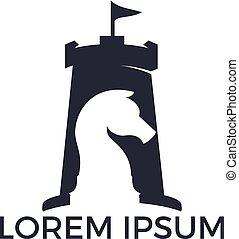 Fort chess vector logo design concept.
