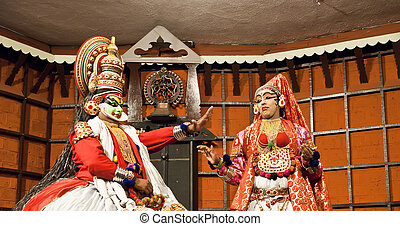 FORT COCHIN - MARCH 06: Kathakali performer in the virtuous...