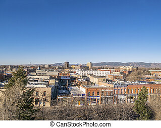 Fort Collins aerial cityscape - aerial view of Fort Collins ...