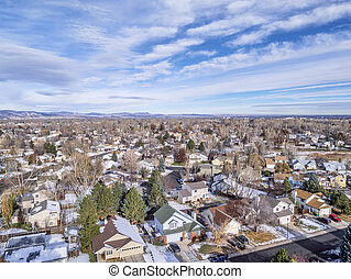 Fort Collins aerial view - cityscape of a typical ...