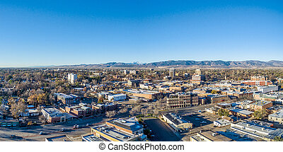 Fort Collins cityscape panorama - Fort Collins downtown ...