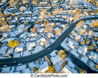 Fort Collins cityscape with snow - Fort Collins cityscape ...