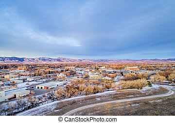 Fort Collins downtown aerial view - aerial view of Fort ...