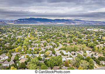 Fort Collins in fall colors from air - aerial view of city ...
