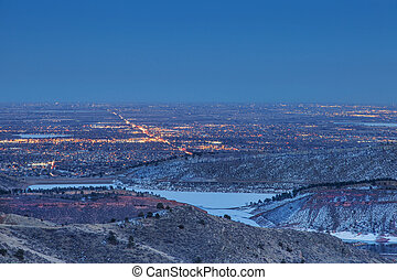 Fort Collins nightscape - night view of Fort Collins in ...