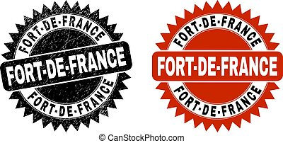 Black rosette FORT-DE-FRANCE stamp. Flat vector grunge seal stamp with FORT-DE-FRANCE text inside sharp rosette, and original clean source. Watermark with grunged surface.