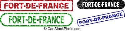 FORT-DE-FRANCE grunge stamps. Flat vector grunge watermarks with FORT-DE-FRANCE message inside different rectangle and rounded shapes, in blue, red, green, black color versions.