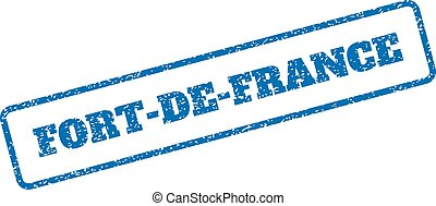 Blue rubber seal stamp with Fort-De-France text. Vector tag inside rounded rectangular banner. Grunge design and dust texture for watermark labels. Inclined sign on a white background.