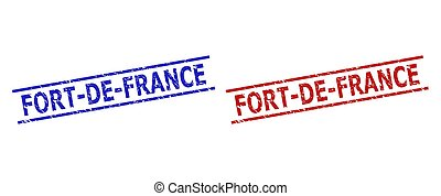 Blue and red FORT-DE-FRANCE watermarks on a white background. Flat vector scratched stamps with FORT-DE-FRANCE title inside two parallel lines. Watermarks with scratched surface.