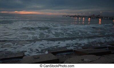 Fort De Soto Gulf Pier after Sunset Tierra Verde, Florida -...