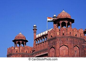 fort, delhi, india., rouges