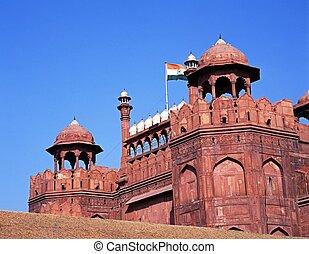 fort, delhi, india., vieux, rouges