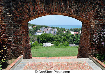 Fort Entrance - This is a photo looking through a wall of...