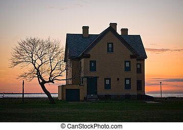 Fort Hancock Home - A historic World War 2 home at sunset at...