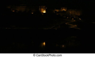 fort illumunation in Jaipur at night India - timelapse