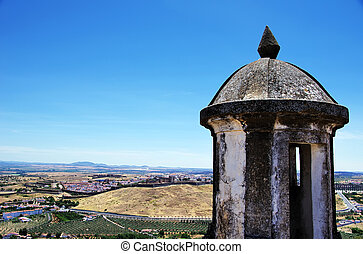 Fort in Elvas and landscape of city, Portugal