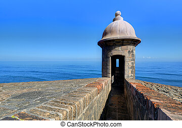 Fort in San Juan - Turret at Castillo San Cristobal in San ...