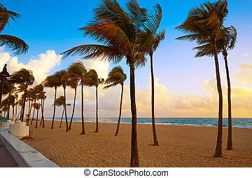 Fort Lauderdale beach sunrise Florida US