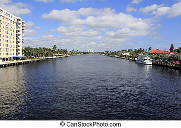 Fort Lauderdale, Florida Intracoastal Waterway - View of the...