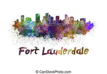 Fort Lauderdale skyline in watercolor splatters with...