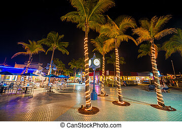 Fort Myers Beach Time Square at night - Time Square Estero...