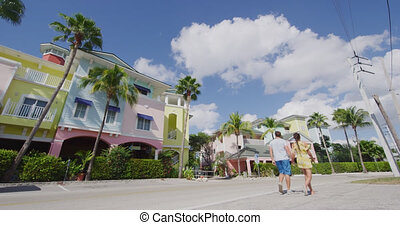 Fort Myers Beach traditional colorful cottages - Couple on...
