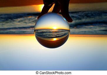 fort, par, floride, levers de soleil, beau, etats-unis, capturé, lentille, plage, lauderdale, balle