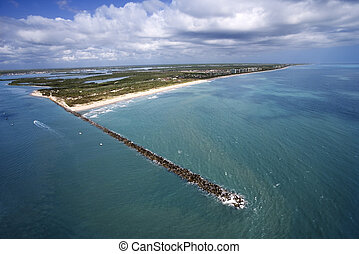 Fort Pierce, Florida. - Aerial view of jetty and beach on...