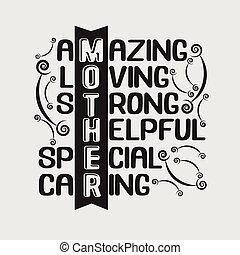 fort, poster., mère, surprenant, spécial, aimer, caring., utile, bon, citation