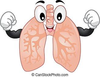 fort, poumons, mascotte