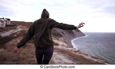 fort, randonnée, girl, marche, vêtements de sport, -, winds...