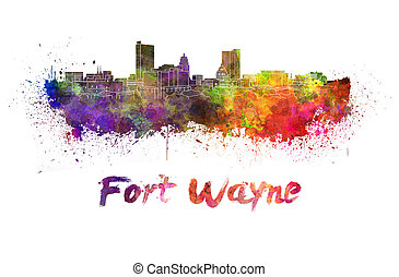 Fort Wayne skyline in watercolor splatters with clipping...