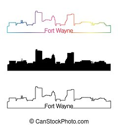 Fort Wayne skyline linear style with rainbow in editable...