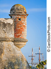 Fort with Sailing Ship - A round corner sentry box, on an...