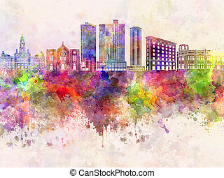 Fort Worth skyline in wb - Fort Worth skyline in watercolor...
