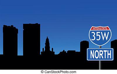 Fort Worth skyline interstate sign