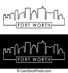 Fort Worth skyline. Linear style.