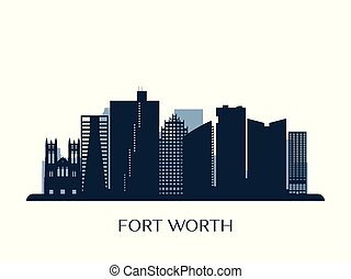 Fort Worth skyline, monochrome silhouette.