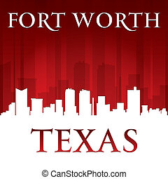 Fort Worth Texas city skyline silhouette red background