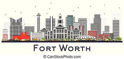 Fort Worth USA City Skyline with Gray Buildings Isolated on White.