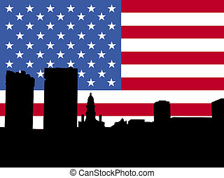 fort worth with flag - fort worth Skyline with American flag...